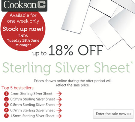 Save up to 18% OFF Sterling Silver Sheet