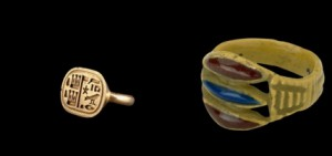 Egyptian signet ring and one of the Ancient Egyptian faience beads
