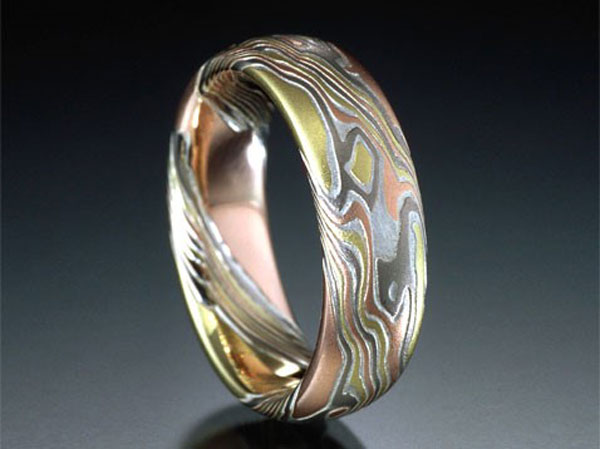 med studio ring metals art seamless mokume shop gane rings