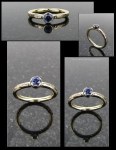 Blue Sapphire and Gold Ring