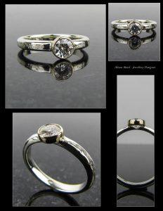 Moissanite and White Gold Ring