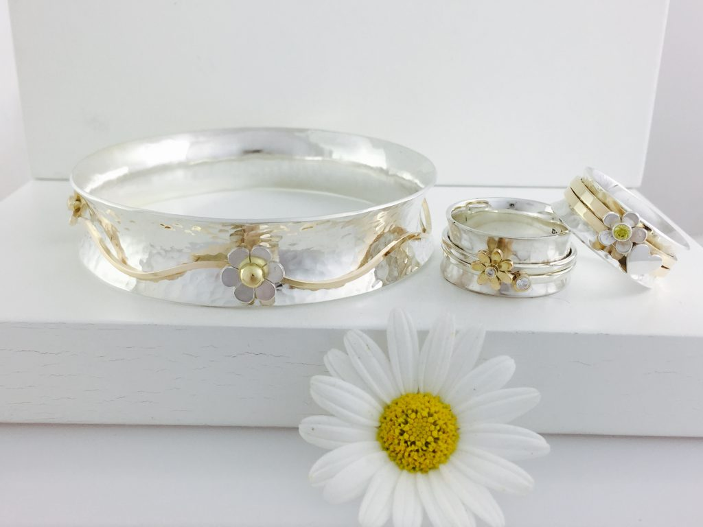 Floral Themed Rings and Bangle