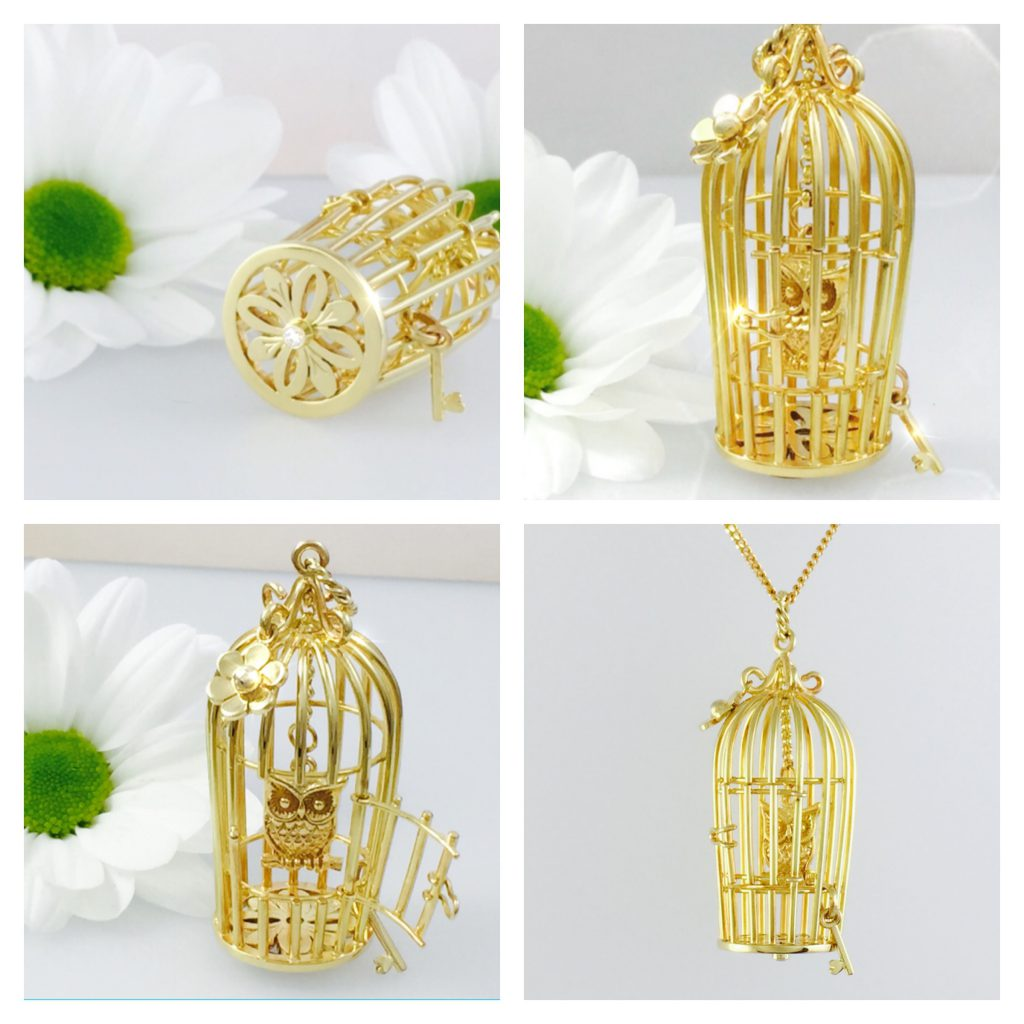 Gold Owl Cage with Hidden Diamond