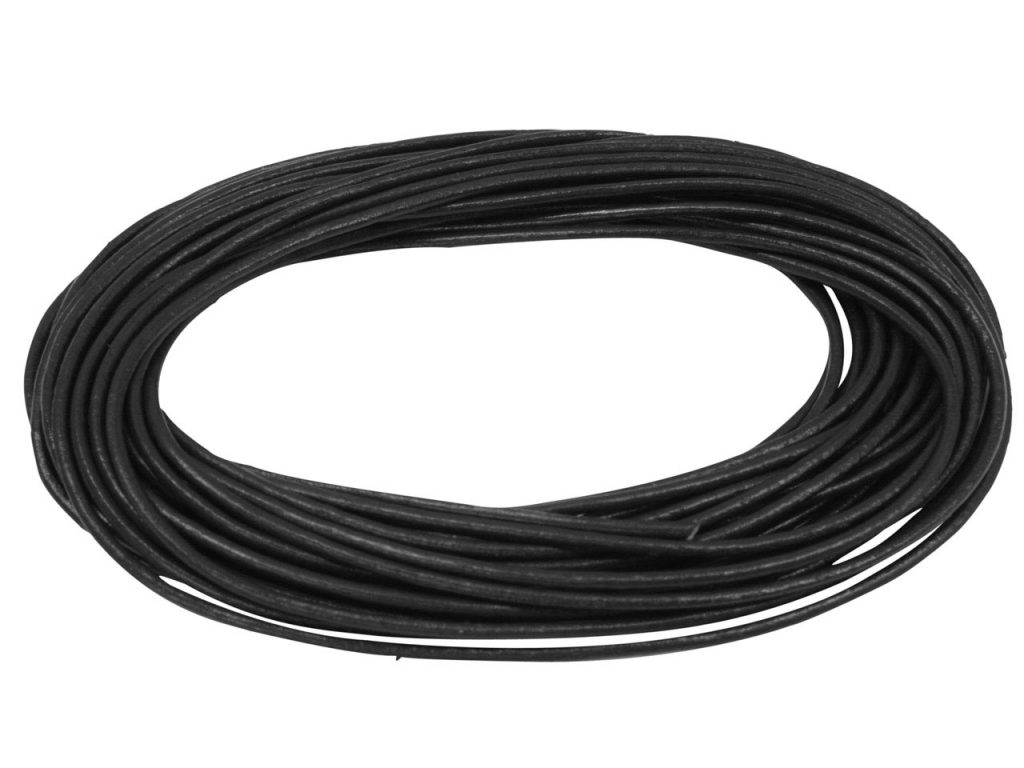 Black Round Leather Cord 2mm Diameter