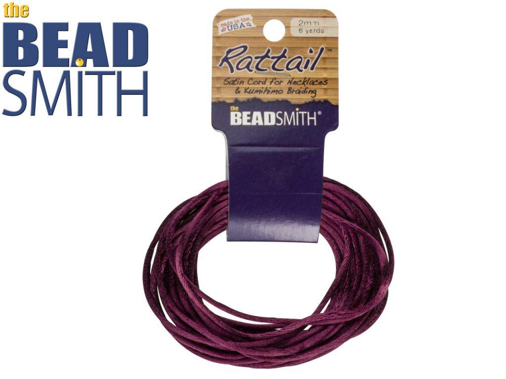 Beadsmith Rattail Satin Cord, Plum