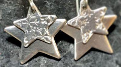 snowy star earrings