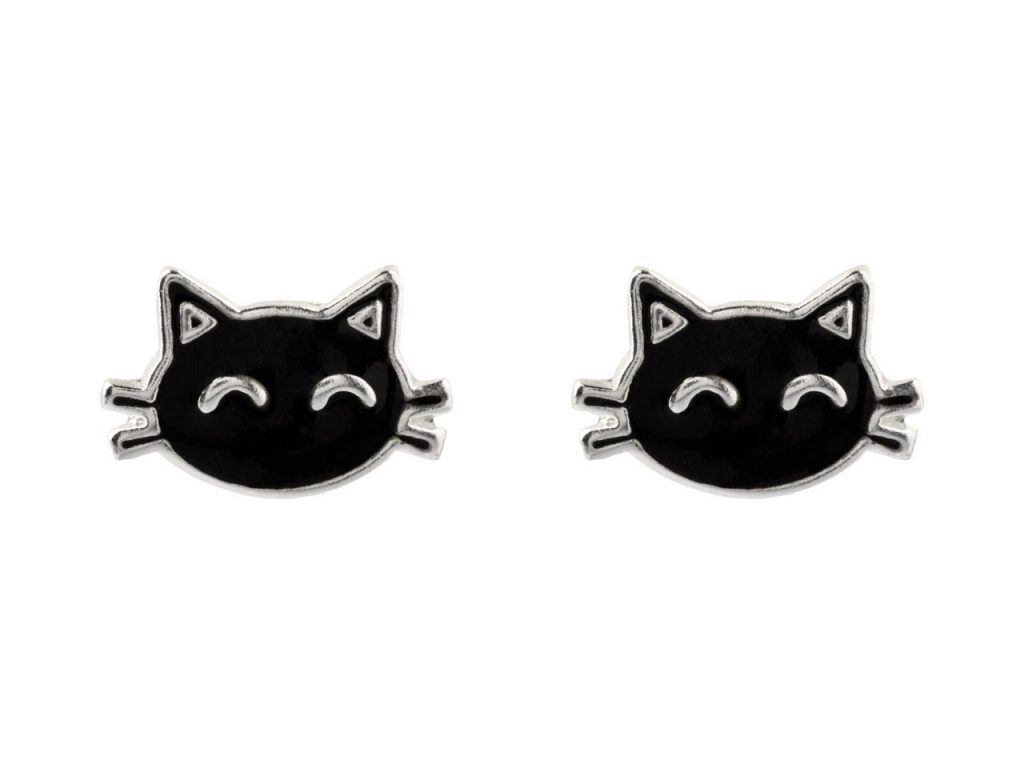 Sterling Silver Cat Enamel Stud Earrings