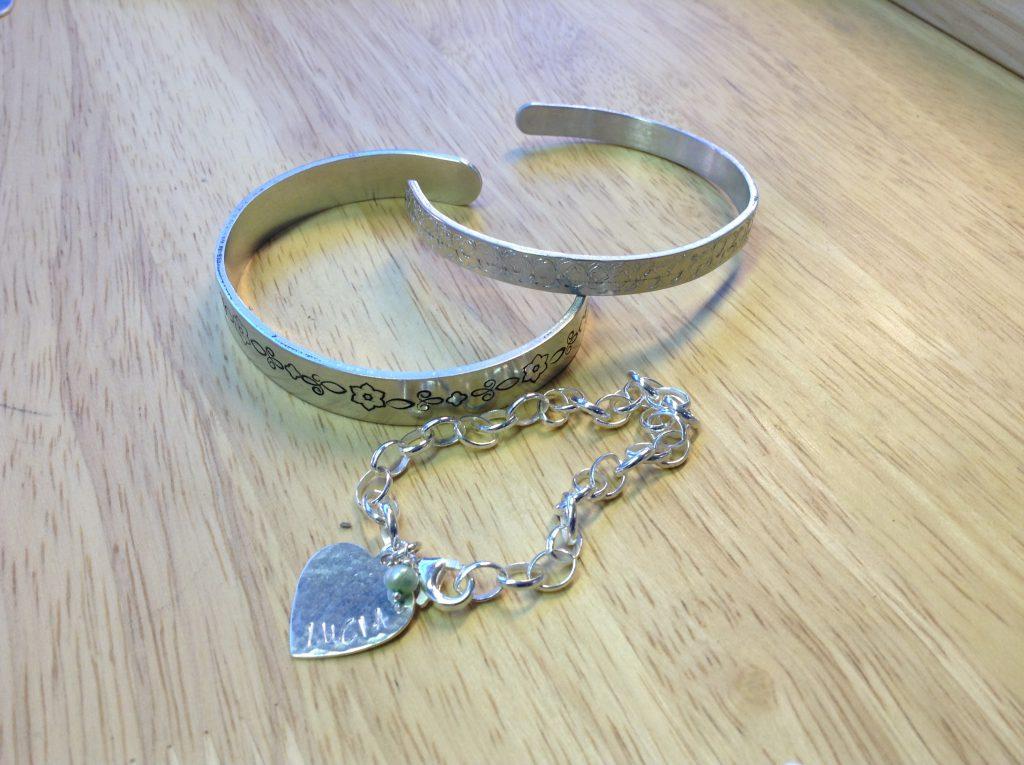 metal stamped bangle and keyring
