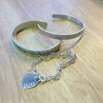 metal stamped bangle and keyring
