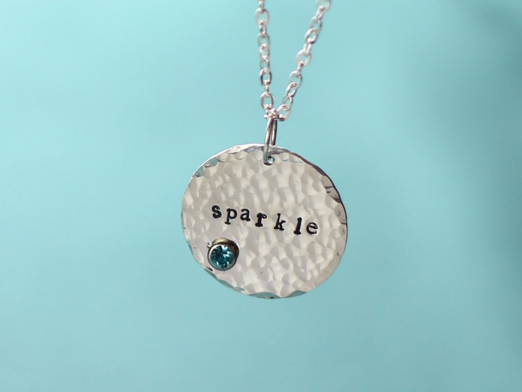 sparkle stamped textured metal pendant and chain
