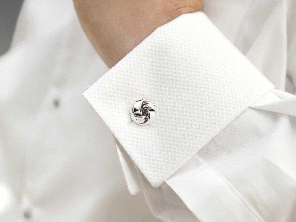 Knot Cuff Link Rhodium Plated Brass