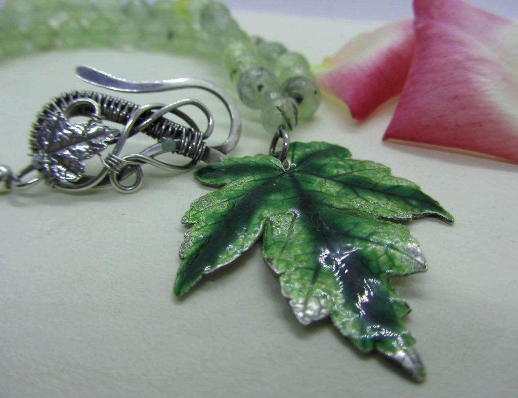enamel leaf pendant
