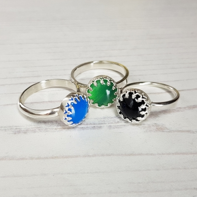 Cabochon Ring with Gallery Strip Setting
