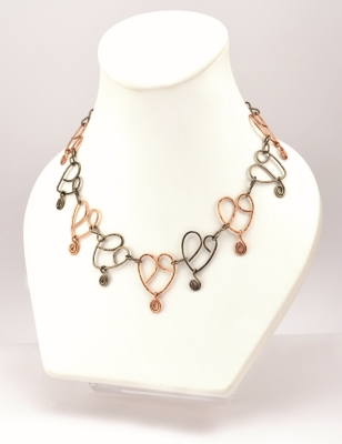Hearts on Wire Necklace