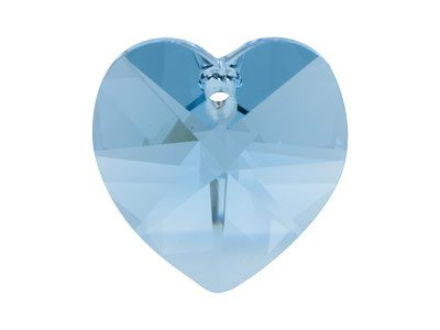 Swarovski Crystal Heart, 6228,     18x17.5mm Aqua