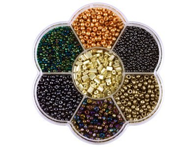 Preciosa Czech Metallic Seed Bead  Mix, Flower Box