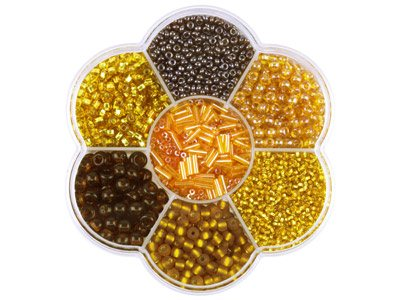 Preciosa Czech Topaz Seed Bead Mix, Flower Box