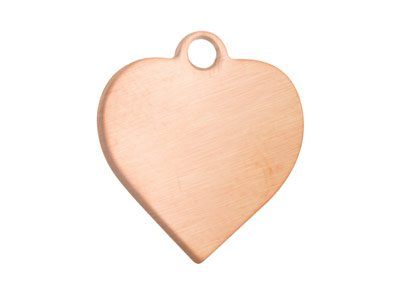 Copper Blanks Heart Pack of 6      13.5mm X 0.9mm Pierced Top Ring