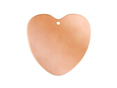 Copper Blanks Heart Pack of 6 29mm X 0.9mm Pierced Hole