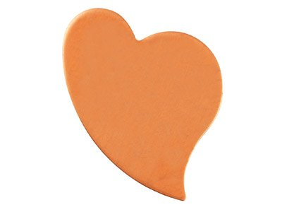 Copper Blanks Swept Heart Pack of 6 26.2mm X 19.3mm X 1mm