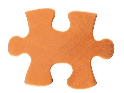 Copper Blanks Puzzle Piece         Pack of 6 24.2mm X 31.4mm X 1mm