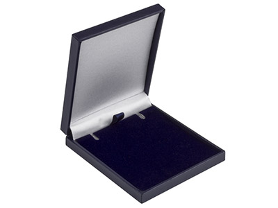 Navy Blue Leatherette Postal       Pendant Box