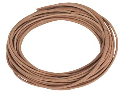 Natural Round Leather Cord 2mm     Diameter 1 X 5 Metre Length