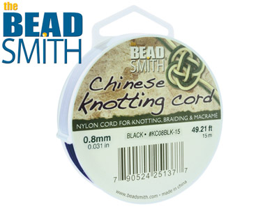 Beadsmith Black Chinese Knotting   Cord 0.8mm X 15m