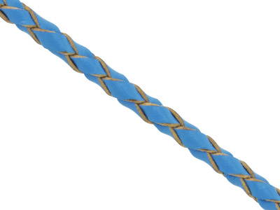 Blue Leather Braided Cord 3mm Round Diameter 1 X 3 Metre Length