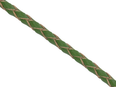 Dark Green Leather Braided Cord 3mm Round Diameter, 1 X 3 Metre Length