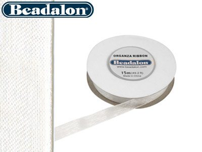 Beadalon Organza Ribbon White 3/8
