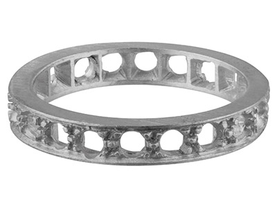 9ct White K11 Full Eternity Ring 20 Grain Set Hallmarked Stone Size     2.4mm Size M