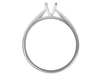 18ct White Round V Shape Claw Ring Mount Hallmarked 30pt Size M