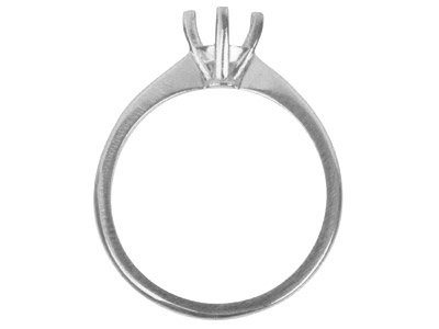 18ct White Gold Round 4 Prong 50pt Ring Mount Hallmarked Size M