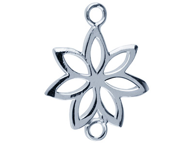 Sterling Silver Flower Spacer,     Pack of 5, 17 X 12 X 0.8mm