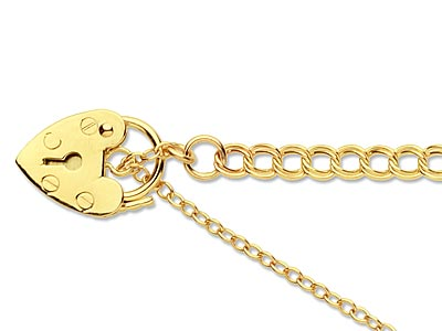 9ct Yellow 1699 Z Curb 7.519cm Padlock  Safety Chain Hallmarked  11mm Padlock