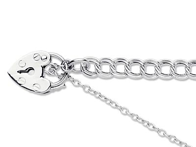 Sterling Silver 4.5mm Double Curb   Bracelet 7.519cm                  Padlock  Safety Chain Unhallmarked