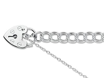 Sterling Silver 6.5mm Double Curb  Bracelet 7.519cm                 Padlock  Safety Chain Hallmarked