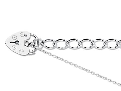 Sterling Silver 5.5mm Curb Bracelet 7.519cm Padlock  Safety Chain    Hallmarked