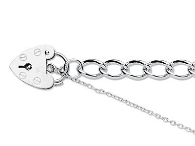 Sterling Silver 7.0mm Curb Bracelet 7.519cm Padlock  Safety Chain    Hallmarked