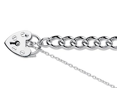 Sterling Silver 6.0mm Curb Bracelet 7.519cm Padlock  Safety Chain    Hallmarked