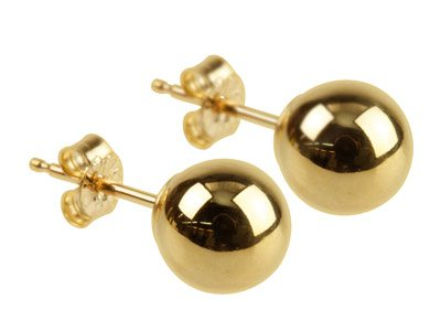 9ct Yellow Pair 6mm Light Weight   Ball Studs
