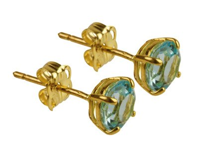 9ct Yellow Birthstone Earrings 5mm Round Bluetopaz - March
