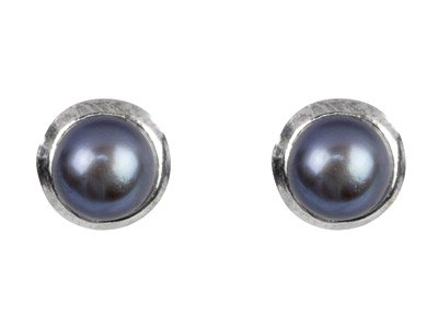 Silver Black Freshwater Button     Pearl Earrings