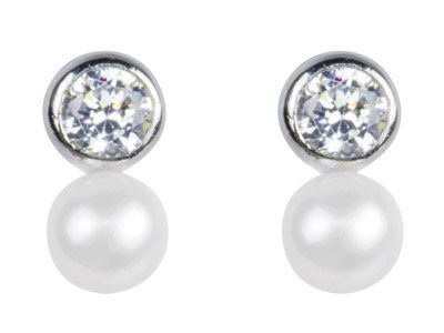 Sterling Silver Earrings           Cubic Zirconia White Fresh Water   Pearl
