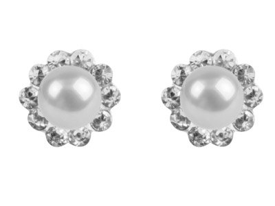 Silver Crystal White Freshwater    Pearl Earrings