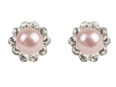 Silver Crystal Pink Freshwater     Pearl Earrings