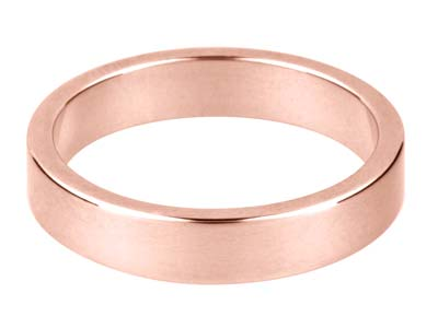18ct Red Gold Flat Wedding Ring    4.0mm, Size M, 4.2g Medium Weight, Hallmarked, Wall Thickness 1.17mm, 100 Recycled Gold