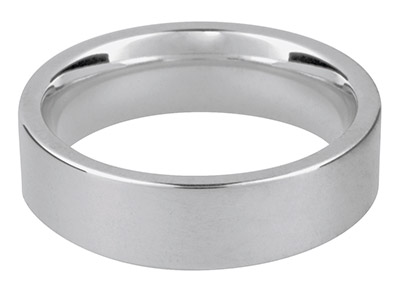 9ct White Easy Fit Wedding Ring 6.0mm P 7.1gms Medium Weight Hallmarked