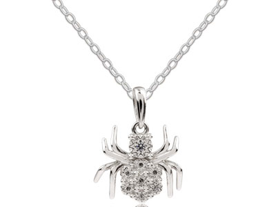 Sterling Silver Cubic Zirconia     Spider Halloween Jewellery Pendant And Chain Set